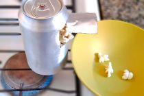 Truco para hacer pochoclo en una lata de aluminio. Idea original para cocinar pochoclo en una lata de gaseosa